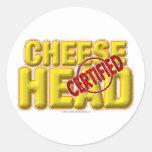 CheeseHead certificado Pegatinas Redondas
