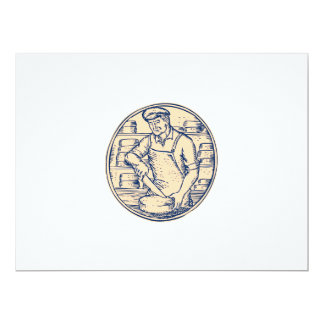 Cheesemaker Cutting Cheddar Cheese Etching 6.5x8.75 Paper Invitation Card