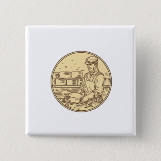 Cheesemaker Making Cheddar Cheese Circle Drawing Button