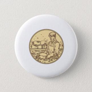 Cheesemaker Making Cheddar Cheese Circle Drawing Pinback Button