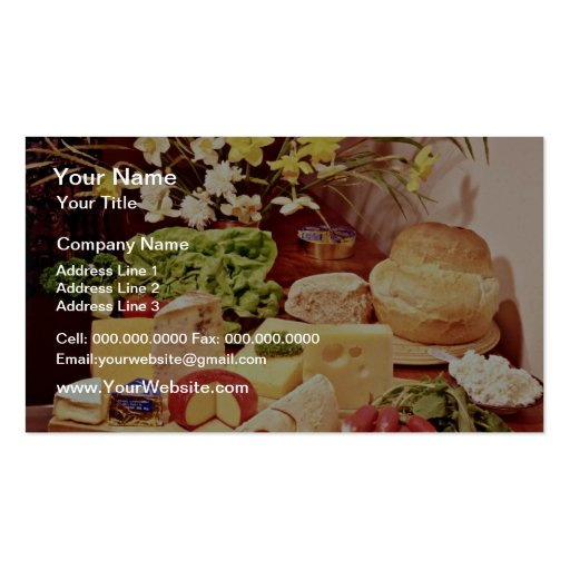 Cheeses, with radishes, lettuce, bread, and daffod Double-Sided standard business cards (Pack of 100)