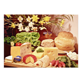 Cheeses with radishes lettuce bread and daffod personalized invite