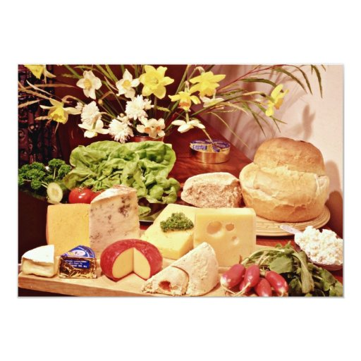 Cheeses, with radishes, lettuce, bread, and daffod personalized invite