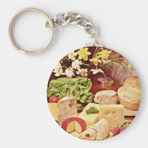 Cheeses, with radishes, lettuce, bread, and daffod key chain