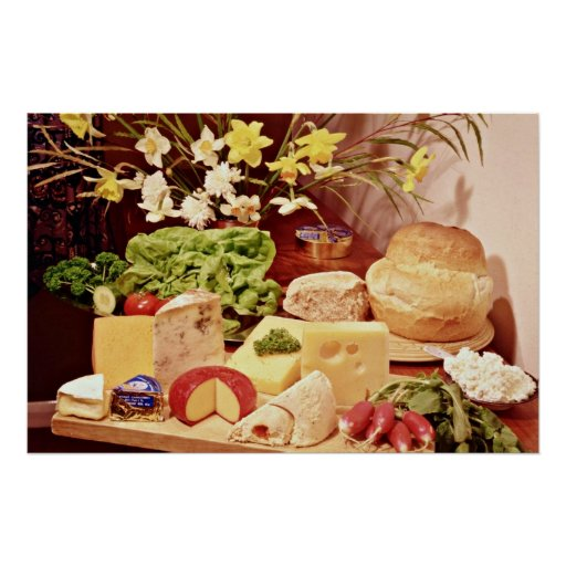 Cheeses, with radishes, lettuce, bread, and daffod poster
