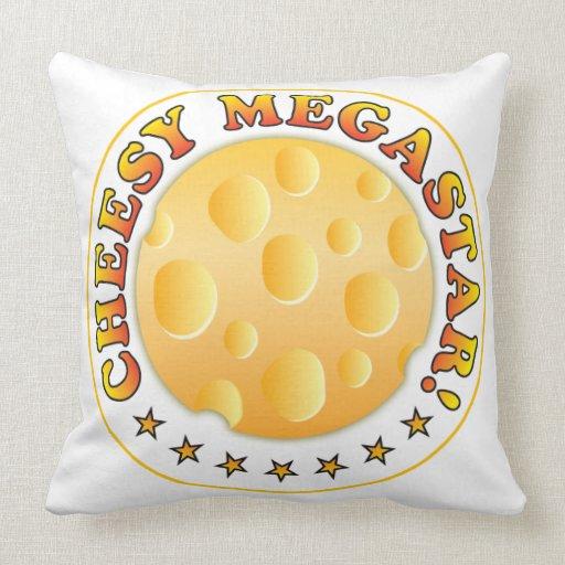 Cheesy Megastar R Throw Pillows