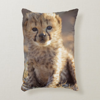 Cheetah 19 days old male cub accent pillow