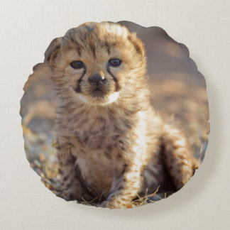 Cheetah 19 days old male cub round pillow