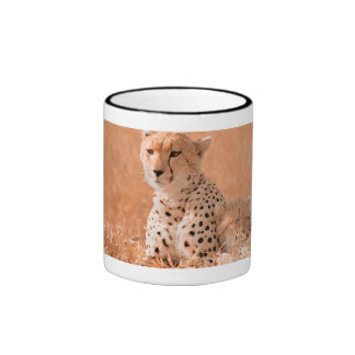 Cheetah and cub wildlife art coffee mug