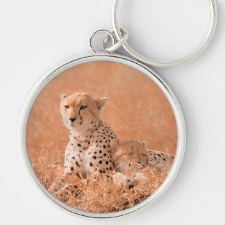 Cheetah and cub wildlife art Silver-Colored round keychain