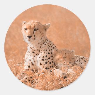 Cheetah and cub wildlife art stickers