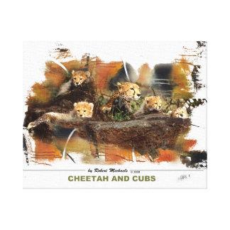 Cheetah and Cubs Canvas Print