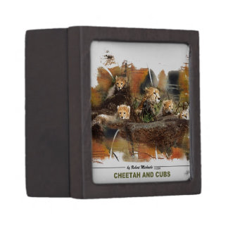 Cheetah and Cubs Magnetic Wooden Gift Box