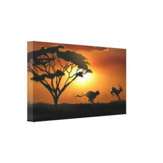 Cheetah and Gazelle Gallery Wrap Canvas
