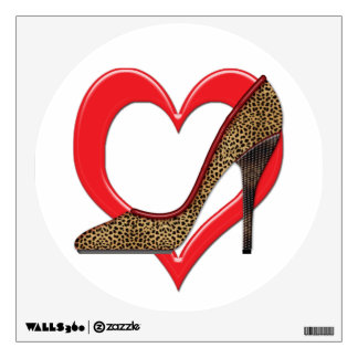 Cheetah and Studded Heels Pumps Wall Decal