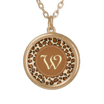 "Cheetah animal pattern with ""W"" monogram Gold Finish Necklace"