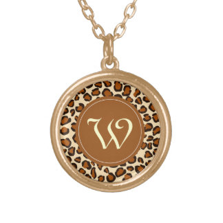 "Cheetah animal pattern with ""W"" monogram Round Pendant Necklace"