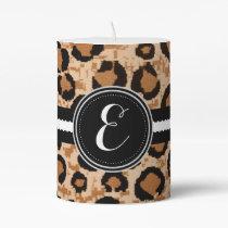 Cheetah Animal Print Monogram Candle