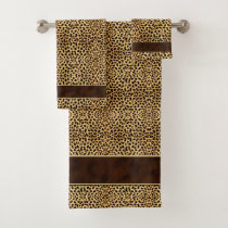Cheetah Animal Print with Gold Trimmed Brown Band Bath Towel Set
