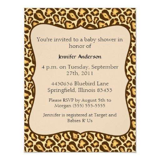 cheetah baby shower card zazzle