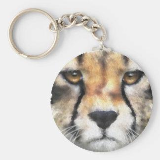 Cheetah Basic Round Button Keychain