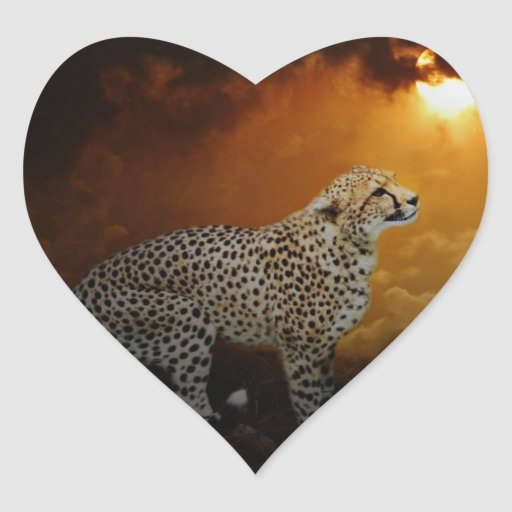 Cheetah beauty and sunset heart stickers