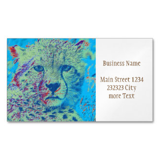 Cheetah  blue version business card magnet