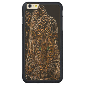 Cheetah Burnt Wood Effect named Kim Carved® Maple iPhone 6 Plus Bumper Case