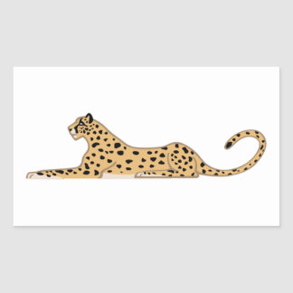 Cheetah Cat Lying Down from the Side Rectangular Sticker