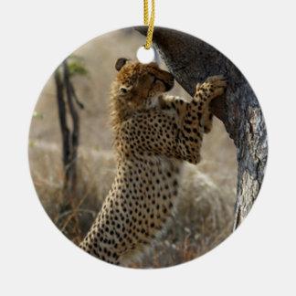 Cheetah Climbing On Tree Ceramic Ornament