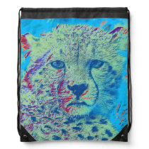 Cheetah colorful version drawstring backpack