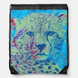 Cheetah colorful version drawstring backpack