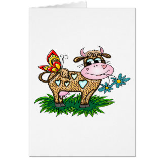 Cheetah Cow & Butterfly Greeting Card