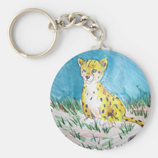 cheetah cub basic round button keychain