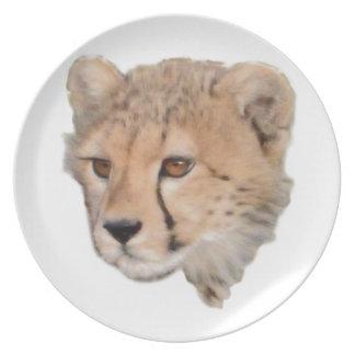 Cheetah Cub Headshot TWurl Melamine Plate