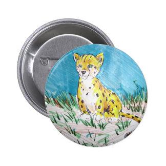 cheetah cub pinback button
