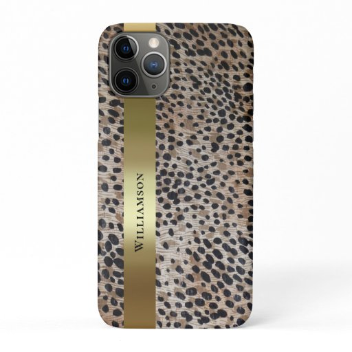 Cheetah Digital Leather Gold Metallic iPhone 11 Pro Case