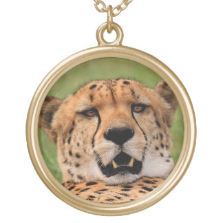 Cheetah Face with Gold Finish Round Necklace. Round Pendant Necklace