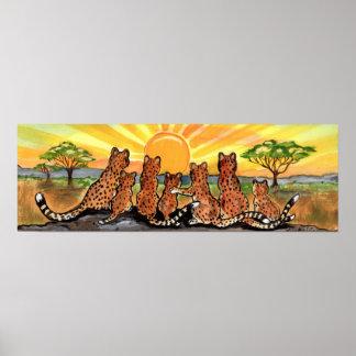 Cheetah Family Cub Africa Serengeti Sunrise Poster