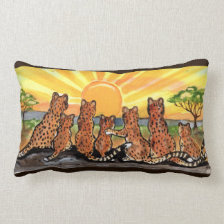 Cheetah Family Sunrise Bright Designer Pillow