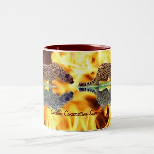 Cheetah & Flames Big Cat Wildlife Art  Mug