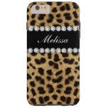 Cheetah Fur Diamonds Name Printed Tough iPhone 6 Plus Case