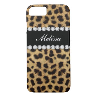 Cheetah Fur Diamonds Name Printed iPhone 7 Case