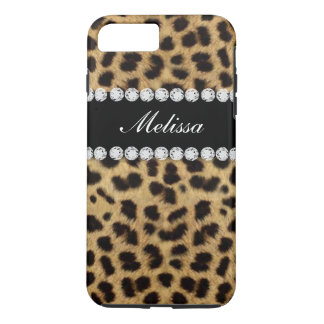 Cheetah Fur Diamonds Name Printed iPhone 7 Plus Case