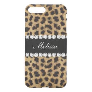 Cheetah Fur Diamonds Name Printed iPhone 8 Plus/7 Plus Case