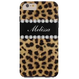Cheetah Fur Diamonds Name Printed Tough iPhone 6 Plus Case