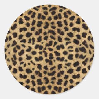 Cheetah Fur Pattern, Cheetah Print Round Sticker