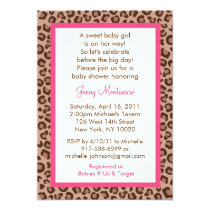 Cheetah Girl Animal Print Baby Shower Invitations