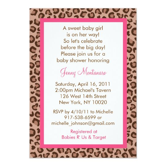 Cheetah Girl Animal Print Baby Shower Invitations