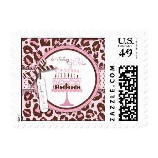 Cheetah Girl Birthday Invite Stamp 2